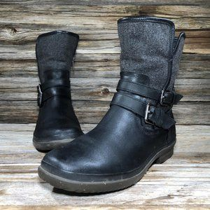 Ugg Black Leather Waterproof Buckle Ankle Boots